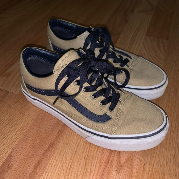 Vans Shoes | Navy Blue And Tan Old